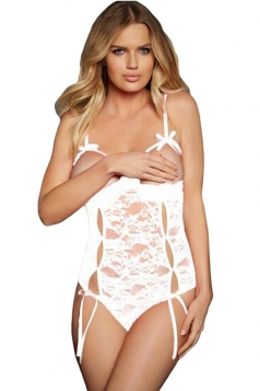 Womens Sexy Open Cup Lace-up Cut Out Teddy White