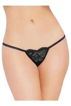 Womens Sexy Lace Heart-shaped G-string Panty Black
