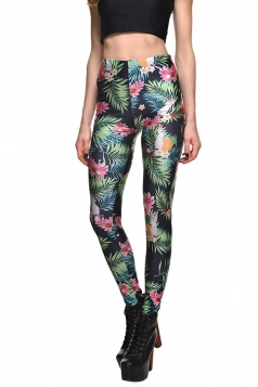 Womens Slimming High Waisted Floral Printed Leggings Green