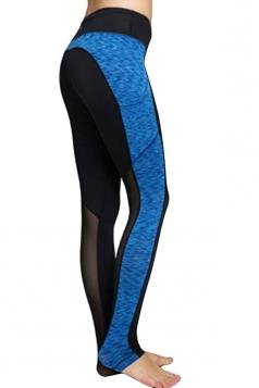 Womens Fashion Color Block Mesh Patchwork Yoga Sports Leggings Blue