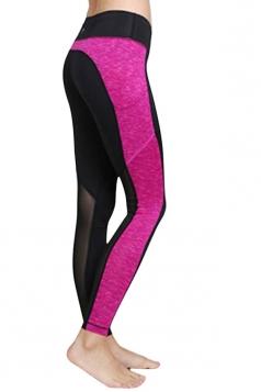 Womens Color Block Mesh Patchwork Yoga Sports Leggings Rose Red