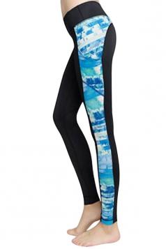 Womens Fashion Flower Printed Running Sports Leggings Light Blue