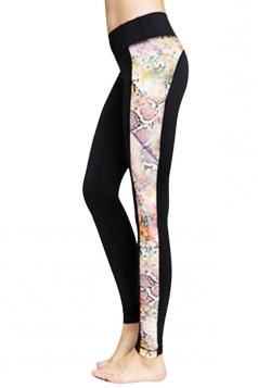 Womens Fashion Flower Printed Running Sports Leggings Pink