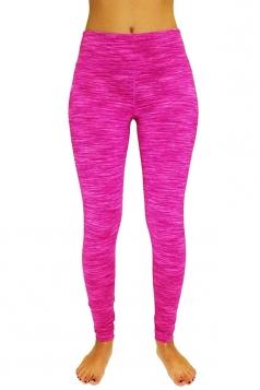 Womens Elastic High Waist Gym Yoga Running Sports Leggings Rose Red