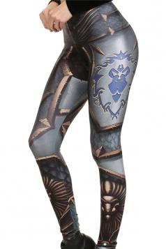 Womens Slimming Armour Printed Ankle Length Leggings Dark Gray