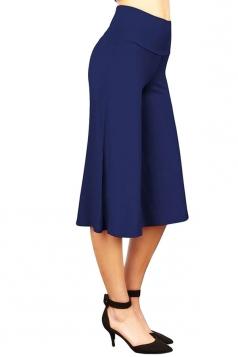 Womens Plain High Waist Cropped Palazzo Leisure Pants Blue