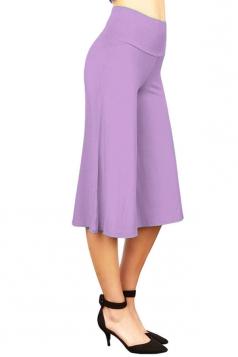 Womens Plain High Waist Cropped Palazzo Leisure Pants Light Purple