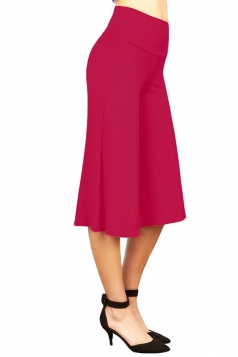 Womens Plain High Waist Cropped Palazzo Leisure Pants Rose Red