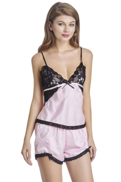 Womens Sexy Lace Patchwork Spaghetti Straps Top&Shorts Sleepwear Pink