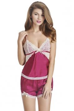 Womens Sexy Lace Patchwork Spaghetti Straps Top&Shorts Sleepwear Ruby