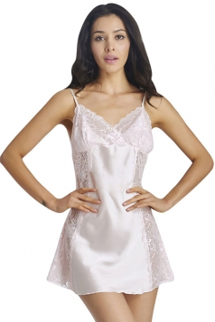Womens Sexy Lace Patchwork Sheer Backless Babydoll Beige
