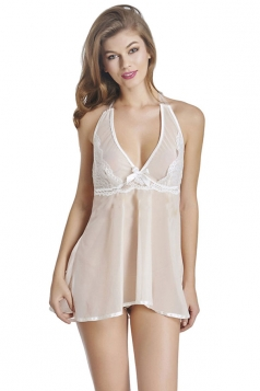 Womens Sexy See Through Halter Backless Babydoll Beige White