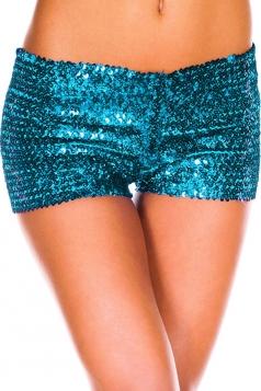 Womens Sexy Sequined Plain Mini Shorts Blue