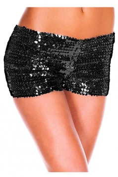 Womens Sexy Sequined Plain Mini Shorts Black