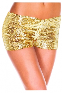 Womens Sexy Sequined Plain Mini Shorts Gold