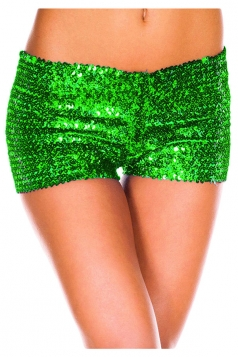 Womens Sexy Sequined Plain Mini Shorts Green