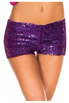 Womens Sexy Sequined Plain Mini Shorts Purple