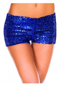 Womens Sexy Sequined Plain Mini Shorts Sapphire Blue
