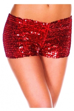 Womens Sexy Sequined Plain Mini Shorts Ruby