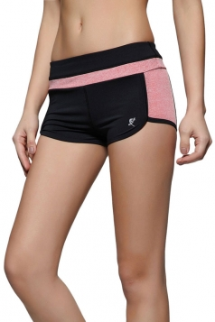 Womens Leisure Color Block Yoga Sports Mini Shorts Tangerine