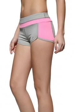 Womens Leisure Color Block Yoga Sports Mini Shorts Pink