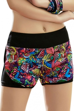 Womens Sexy Printed Yoga Running Sports Mini Shorts Blue