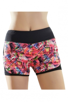 Womens Sexy Printed Yoga Running Sports Mini Shorts Pink
