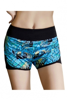 Womens Sexy Printed Yoga Running Sports Mini Shorts Turquoise
