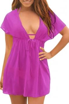 Womens Sexy Sheer Mesh Deep V Neck Plain Beach Dress Purple