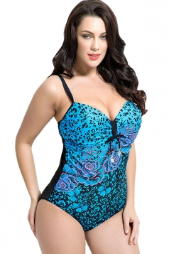 Womens Sexy Plus Size Floral Printed One Piece Swimsuit Blue