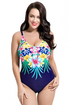 Womens Sexy Floral Printed Spaghetti Straps Monokini Navy Blue