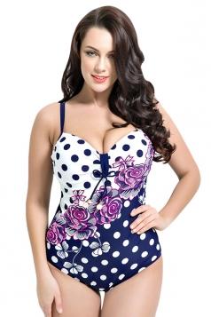 Womens Sexy Floral Polka Dot Printed Plus Size Monokini White