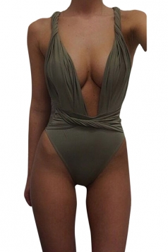 Womens Sexy Twisted Rope Bandage Plain Monokini Army Green
