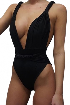 Womens Sexy Twisted Rope Bandage Plain Monokini Black