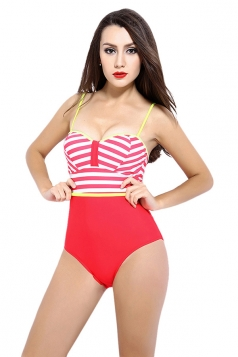 Womens Sexy Color Block Striped One Piece Bathing Suit Red