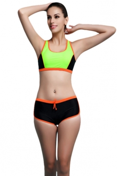 Womens Sexy Color Block Bikini Top&Bathing Suit Bottom Green
