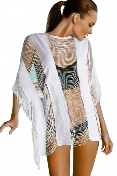 Womens Sexy See Through Ripped Fringe Beach Dress White