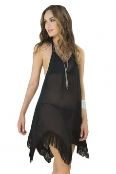 Womens Sexy Halter Fringe Backless Plain Beach Dress Black