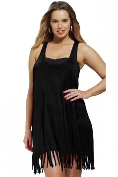 Womens Sexy Fringe Plus Size Plain Beach Dress Black