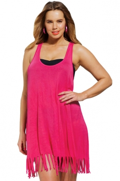 Womens Sexy Fringe Plus Size Plain Beach Dress Rose Red