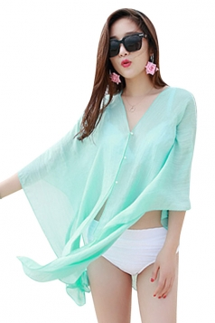 Womens Sexy Plain Single-breasted Beach Sarong Light Blue