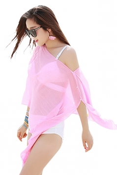 Womens Sexy Plain Single-breasted Beach Sarong Pink