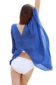 Womens Sexy Plain Single-breasted Beach Sarong Sapphire Blue