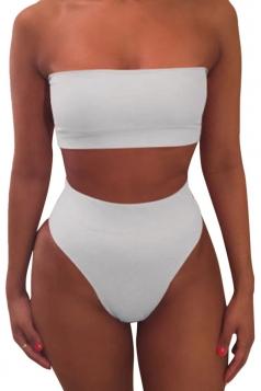 Womens Sexy Plain Bandeau Top&High Waist Bottom Bikini Set White