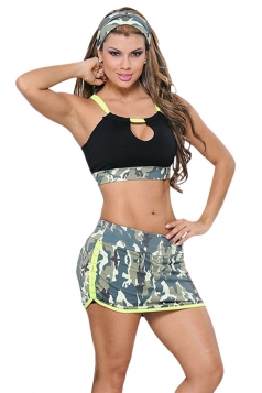 Womens Sexy Halter Camouflage Bikini Top&Skirted Swimsuit Bottom Black
