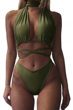 Womens Sexy Halter Cross Bandage Cut Out Plain Monokini Army Green