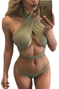 Womens Sexy Bandage Lace Up Bikini Top&Bathing Suit Bottom Army Green