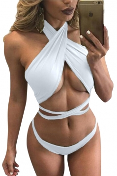 Womens Sexy Bandage Lace Up Bikini Top&Bathing Suit Bottom White
