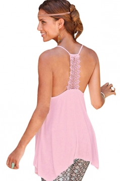 Womens Sexy Lace Patchwork Back Plain Camisole Top Pink
