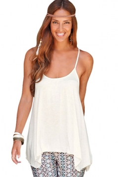 Womens Sexy Lace Patchwork Back Plain Camisole Top White